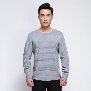 秋季针织衫男长袖全织时代2017新款青年圆领不对称条纹套头打底衫