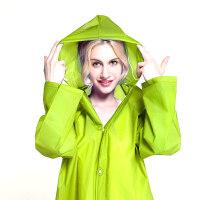 [当当自营]加加林 户外时尚EVA半透明磨砂感成人雨衣雨披 男女士长款带帽  JH01绿色L