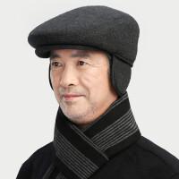 前进帽子男冬天中老年爷爷老头帽保暖护耳鸭舌帽秋冬季爸爸老人帽