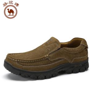 骆驼牌男鞋 新品 日常休闲系带皮鞋男士舒适头层压花磨砂牛皮