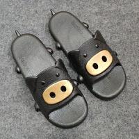 夏季新品猪猪款居家拖鞋亲子款凉鞋居家可爱宝宝凉拖鞋1-2-3-4-5-6-7-8岁防滑软底舒适男女 黑色 男款