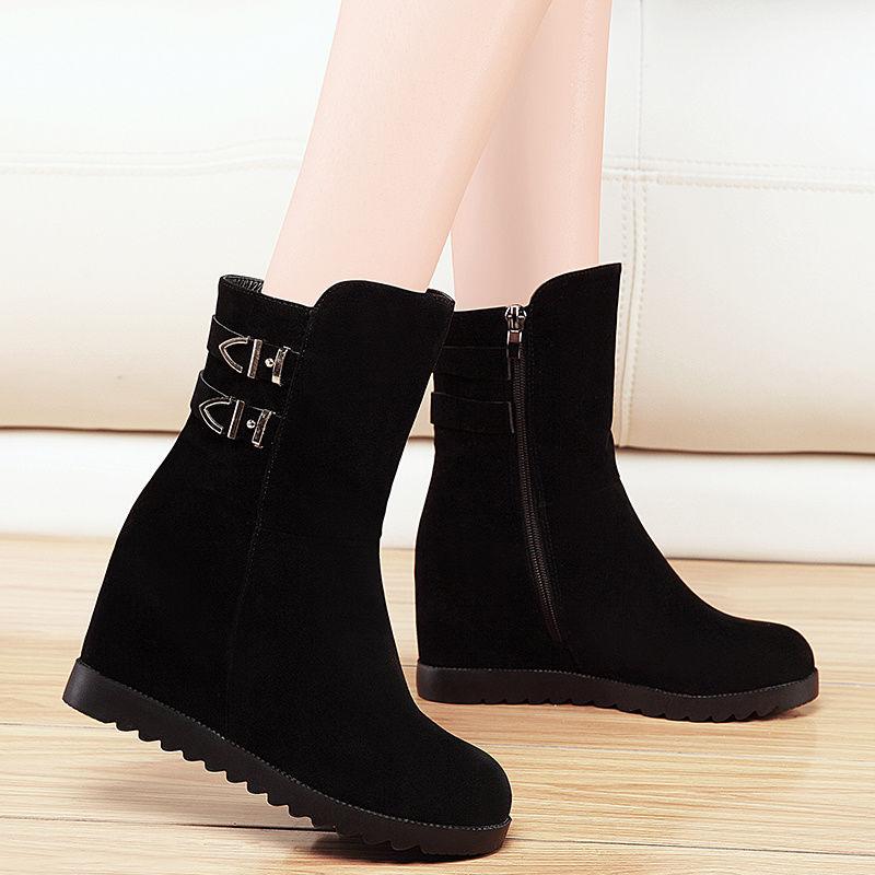 冬季雪地靴女款学生韩版气质短靴2019春秋平底棉靴内增高女鞋子 黑色绒面 单里款