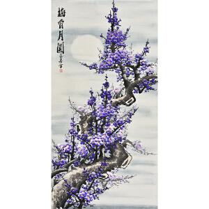 中国林业美术家协会会员王君四尺整张花鸟画《梅香月圆》ZH0416