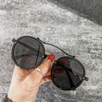 吴亦凡网红同款韩国个性时尚男女大框圆框太阳眼镜墨镜潮 亮黑