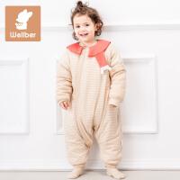 威尔贝鲁(WELLBER)宝宝睡袋秋冬厚棉款儿童分腿睡袋防踢被新生儿纯棉睡袋