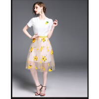 新款名媛风两件套中长款网纱刺绣连衣裙时尚花色套装裙女  可礼品卡支付
