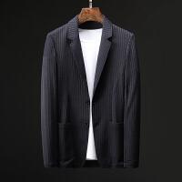 秋季牛奶丝高弹力镂空条纹休闲西服外套 男士薄款帅气两粒扣单西