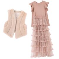 秋冬季2018新款马甲配毛衣裙子两件套装女神连衣裙气质网纱蛋糕裙 浅棕色两件套