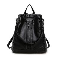 双肩包女士包包软面大容量包休闲百搭旅行包背包女韩版潮新款 黑色