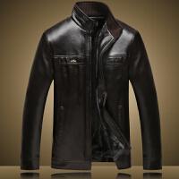 中年男士皮衣PU皮夹克男装冬装加绒加厚款中老年爸爸装秋冬季外套