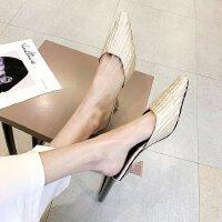 尖头高跟穆勒鞋褶皱绸缎包头外穿半拖鞋粗跟凉拖鞋中跟仙女OL女鞋