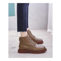 新款冬季加绒高帮鞋皮鞋女英伦风马丁靴平底圆头鞋百搭短靴子系带靴子