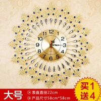 钟表挂钟客厅 现代创意静音个性卧室大号孔雀石英钟时尚欧式圆形SN4057 20英寸以上
