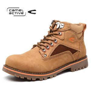 Camel Active/骆驼动感 冬款工装马丁靴高帮户外男鞋头层系带男鞋