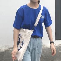 韩国简约字母港风ins帆布袋女斜挎包大chic购物袋单肩学生帆布包 米白色 蓝人像 三用款