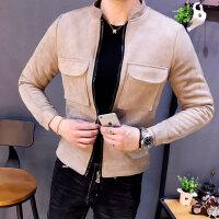 秋冬潮外套纯色韩版男士夹克时尚都市男装长袖秋季外穿修身