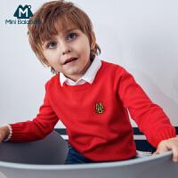 迷你巴拉巴拉男童假两件毛衣2018秋新款童装男宝宝长袖套头线衫