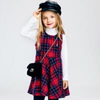 【满200减100元】暇步士童装女童2017新款秋装马甲裙中大童时尚裙子儿童格子连衣裙