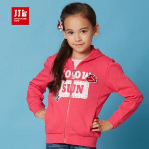 季季乐春秋新款儿童休闲连帽上衣女中大童运动外套撞色卫衣GCW61035