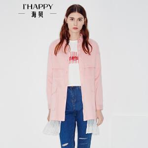 海贝2017秋季新款女装外套 方领长袖卡通印花大口袋网纱拼接风衣