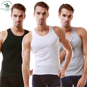 圣大保罗男士背心T恤 纯棉工字背心 吸汗透气棉质汗衫3条装盒装薄款 黑+白+灰 三色