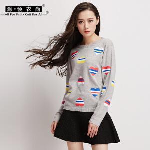 套头印花卫衣女女装学院风条纹拼色爱心t恤秋螺纹薄款针织衫长袖