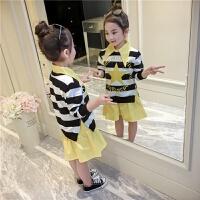 女童套装2018新款春季中大童长袖卫衣裙套装搭配翻领衬衫两件套潮