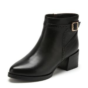 【3折到手价149.7元】Fondberyl/菲伯丽尔 冬款牛皮侧拉链圆头高跟短靴女鞋FB54114427