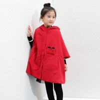 amii童装冬新款女童加绒加厚卫衣中大童中长款宽松连帽外套