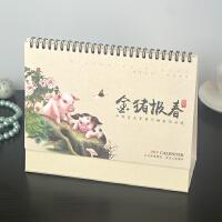 2019年迷你横式台历定制韩版多功能日历月历桌面台历专版定做