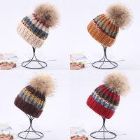 儿童秋冬季真毛大毛球宝宝手工针织毛线男童保暖女韩版套头帽子潮