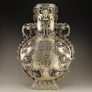 精工全白铜打造福字铜器瓶摆件