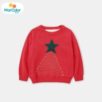 马卡乐童装女宝宝套头毛衫女童长袖加绒圣诞树2019冬新款