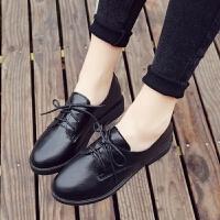 2019春季黑色小皮鞋女士平底单鞋圆头休闲鞋女平跟系带英伦风女鞋 顺亿-1706黑色