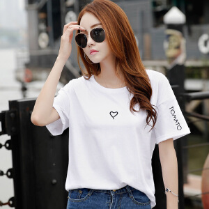 韩版女装夏装新款简约绣花bf风宽松上衣棉质短袖T恤女学生