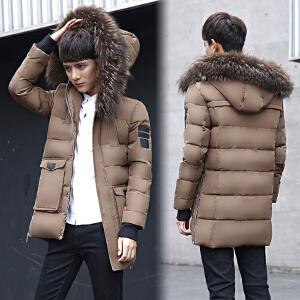 男装羽绒服修身大毛领加厚保暖青年中长款羽绒服韩版潮款御寒冬装