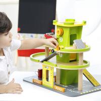 男宝宝木制轨道车玩具车停车场模型儿童小汽车套装组合1-2-3岁