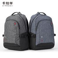 卡拉羊新款简约多功能休闲大容量男女旅行笔记本电脑背包双肩包CX5015