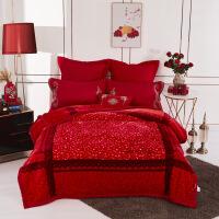 秋冬云毯超柔加厚双层拉舍尔盖毯大红色婚庆毛毯 爱之花语 7斤 200*230CM