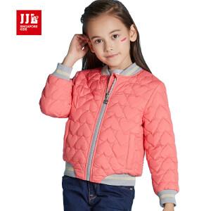 季季乐儿童外套女春秋款新款女童纯色时尚立领开衫上衣保暖GQA61230