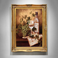美式餐厅装饰画手绘油画葡萄酒杯玄关走廊过道壁画欧式客厅挂画 90*120H 连框尺寸,10天发货