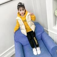 女童秋冬装套装小女孩卫衣马甲三件套洋气潮