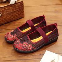 老北京布鞋女单鞋防滑软底透气大码休闲绣花妈妈中老年人奶奶网鞋