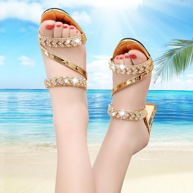 拖鞋女2019夏天新款时尚百搭半拖鞋粗跟中跟高跟凉鞋水钻女士大码鞋凉拖女可爱露趾外穿女鞋一字型穆勒鞋