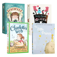 儿童文学经典4册 英文原版小说 Charlottes Web 夏洛特的网 小王子 波利安娜 夏洛的网 爱丽丝梦游仙境与镜