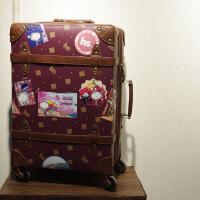 2018新款复古旅行箱日韩欧美登机箱万向轮拉杆箱拉链防水耐磨印花 卡通印花
