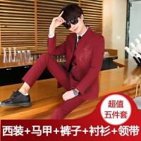 男士休闲西装套装男20-30岁中山装男西服三件套韩版潮流小西装男