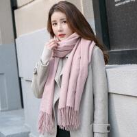 羊毛羊绒纯色围巾女春秋冬季冬天加厚长款披肩两用韩版百搭韩国