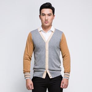 纯棉针织开衫男士V领修身毛线衣撞色春秋薄款长袖针织衫外套潮流