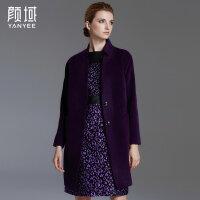 颜域品牌女装2017冬季新款欧美中长款茧型大衣小立领羊毛毛呢外套